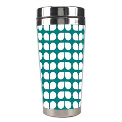 Teal And White Leaf Pattern Stainless Steel Travel Tumbler