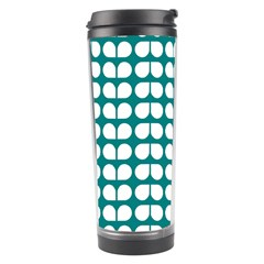 Teal And White Leaf Pattern Travel Tumbler