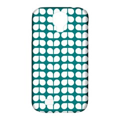 Teal And White Leaf Pattern Samsung Galaxy S4 Classic Hardshell Case (pc+silicone)