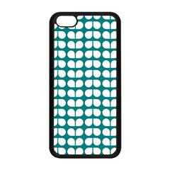 Teal And White Leaf Pattern Apple iPhone 5C Seamless Case (Black)