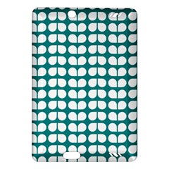 Teal And White Leaf Pattern Kindle Fire HD (2013) Hardshell Case
