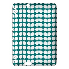 Teal And White Leaf Pattern Kindle Fire HDX Hardshell Case