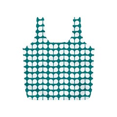 Teal And White Leaf Pattern Reusable Bag (S)