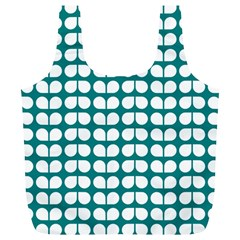 Teal And White Leaf Pattern Reusable Bag (XL)