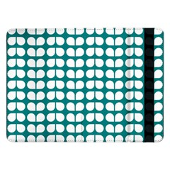 Teal And White Leaf Pattern Samsung Galaxy Tab Pro 12.2  Flip Case