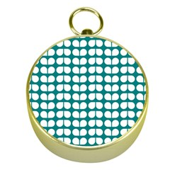 Teal And White Leaf Pattern Gold Compass