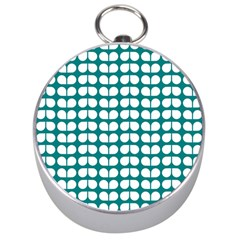 Teal And White Leaf Pattern Silver Compass