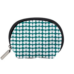 Teal And White Leaf Pattern Accessory Pouch (small)