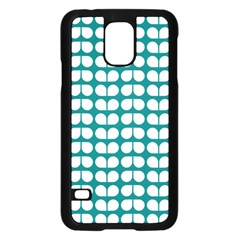 Teal And White Leaf Pattern Samsung Galaxy S5 Case (Black)