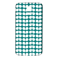 Teal And White Leaf Pattern Samsung Galaxy S5 Back Case (White)