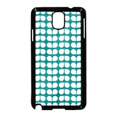 Teal And White Leaf Pattern Samsung Galaxy Note 3 Neo Hardshell Case (Black)