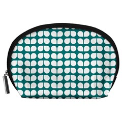 Teal And White Leaf Pattern Accessory Pouch (Large)