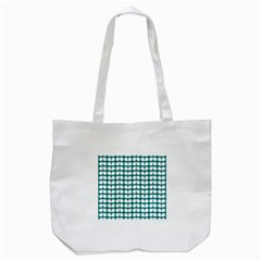 Teal And White Leaf Pattern Tote Bag (White)