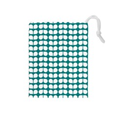 Teal And White Leaf Pattern Drawstring Pouch (medium)