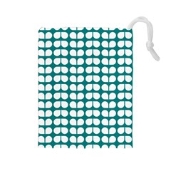 Teal And White Leaf Pattern Drawstring Pouch (large)