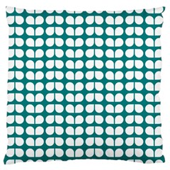 Teal And White Leaf Pattern Large Flano Cushion Case (One Side)
