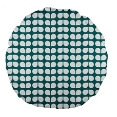 Teal And White Leaf Pattern 18  Premium Flano Round Cushion