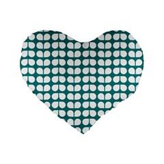 Teal And White Leaf Pattern 16  Premium Flano Heart Shape Cushion
