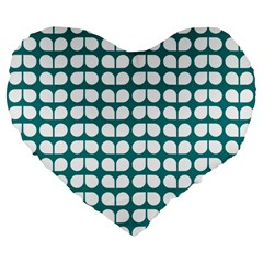 Teal And White Leaf Pattern 19  Premium Flano Heart Shape Cushion