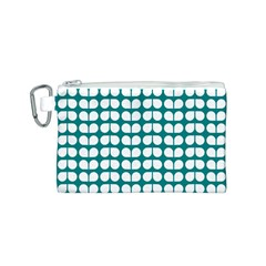 Teal And White Leaf Pattern Canvas Cosmetic Bag (Small)