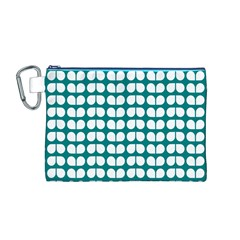 Teal And White Leaf Pattern Canvas Cosmetic Bag (Medium)