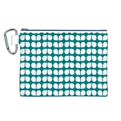 Teal And White Leaf Pattern Canvas Cosmetic Bag (Large)