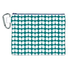 Teal And White Leaf Pattern Canvas Cosmetic Bag (XXL)