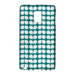Teal And White Leaf Pattern Samsung Galaxy Note Edge Hardshell Case