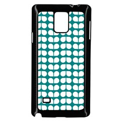 Teal And White Leaf Pattern Samsung Galaxy Note 4 Case (Black)