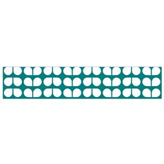 Teal And White Leaf Pattern Flano Scarf (Small)