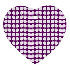 Purple And White Leaf Pattern Heart Ornament