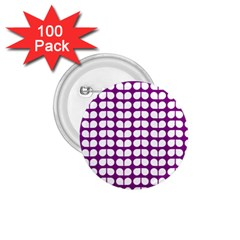 Purple And White Leaf Pattern 1 75  Button (100 Pack)