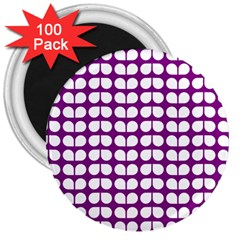 Purple And White Leaf Pattern 3  Button Magnet (100 Pack)
