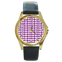 Purple And White Leaf Pattern Round Leather Watch (gold Rim)