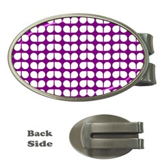 Purple And White Leaf Pattern Money Clip (oval)
