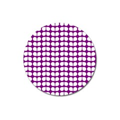 Purple And White Leaf Pattern Magnet 3  (round)