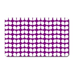 Purple And White Leaf Pattern Magnet (rectangular)
