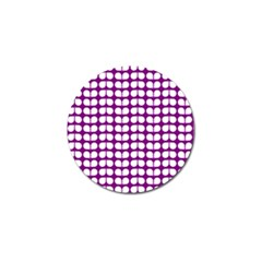 Purple And White Leaf Pattern Golf Ball Marker