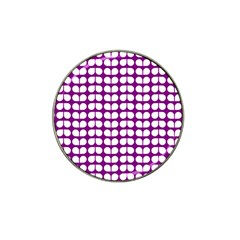 Purple And White Leaf Pattern Golf Ball Marker 10 Pack (for Hat Clip)