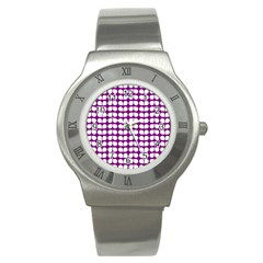 Purple And White Leaf Pattern Stainless Steel Watch (slim)