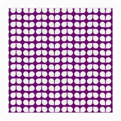 Purple And White Leaf Pattern Glasses Cloth (medium, Two Sided)