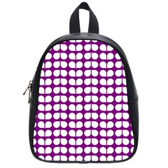 Purple And White Leaf Pattern School Bag (small)