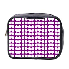 Purple And White Leaf Pattern Mini Travel Toiletry Bag (two Sides)