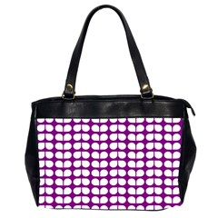 Purple And White Leaf Pattern Oversize Office Handbag (two Sides)
