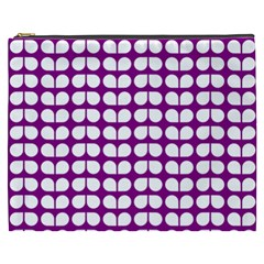 Purple And White Leaf Pattern Cosmetic Bag (xxxl)