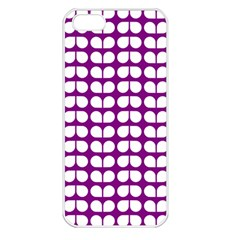 Purple And White Leaf Pattern Apple Iphone 5 Seamless Case (white)