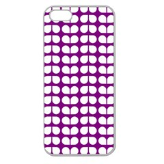 Purple And White Leaf Pattern Apple Seamless Iphone 5 Case (clear)