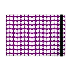 Purple And White Leaf Pattern Apple Ipad Mini Flip Case