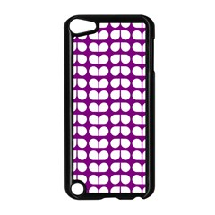 Purple And White Leaf Pattern Apple Ipod Touch 5 Case (black)
