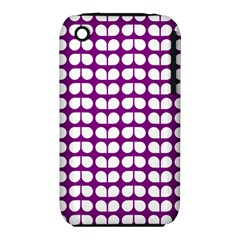 Purple And White Leaf Pattern Apple Iphone 3g/3gs Hardshell Case (pc+silicone)